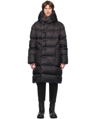 Стеганое пуховое черное длинное пальто Rick Owens