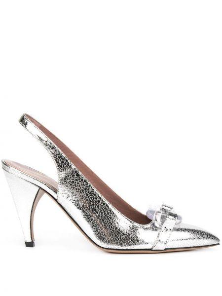 Кожаные с ремешком серебряные кожаные туфли Rayne