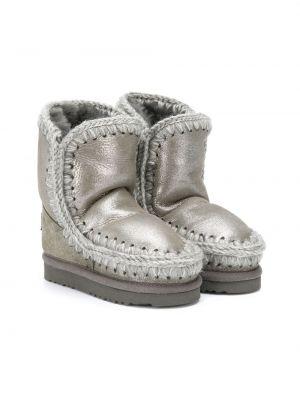 Серебряные зимние ботинки из овчины с подкладкой без застежки Mou Kids