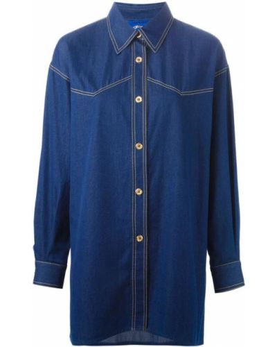 Синяя прямая джинсовая рубашка винтажная на пуговицах Guy Laroche Pre-owned