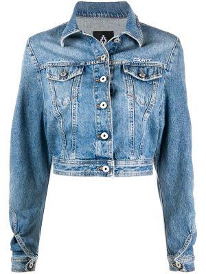Синяя свободная джинсовая куртка с вышивкой с воротником Marcelo Burlon. County Of Milan