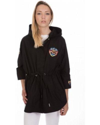 Czarny płaszcz z kapturem bawełniany Pinko