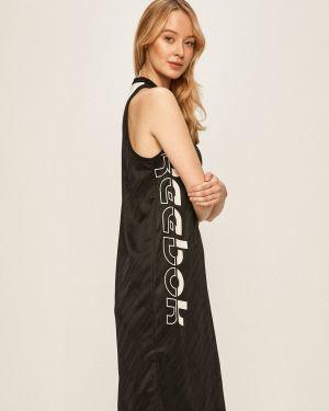 Czarna sukienka midi dzianinowa na co dzień Reebok