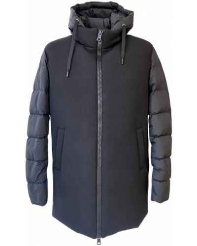 Czarny płaszcz z kapturem Herno