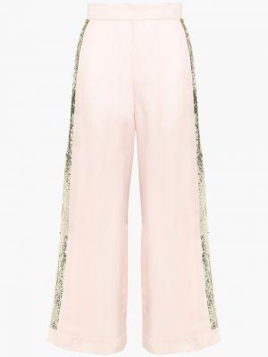 Розовые шелковые брюки свободного кроя Temperley London