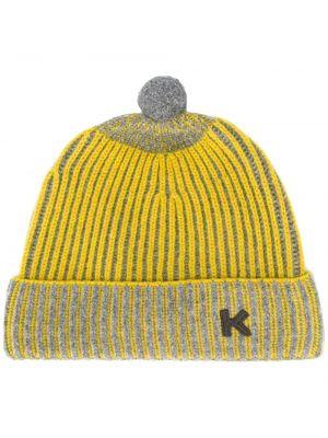Шерстяная желтая шапка с помпоном Kenzo