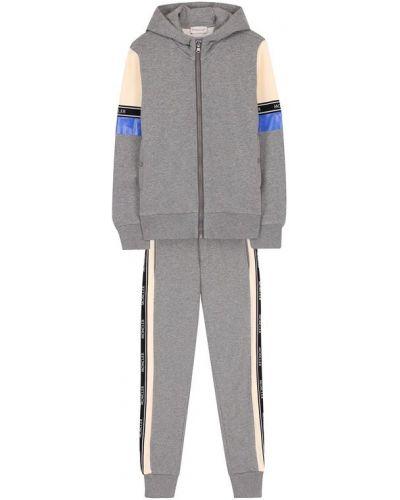 Серый спортивный костюм с капюшоном Moncler Enfant