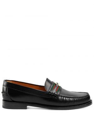 Czarny loafers z prawdziwej skóry okrągły okrągły nos Gucci