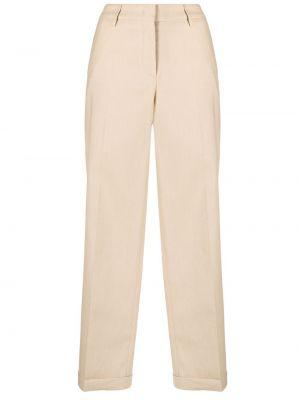 Beżowe spodnie bawełniane z paskiem Piazza Sempione