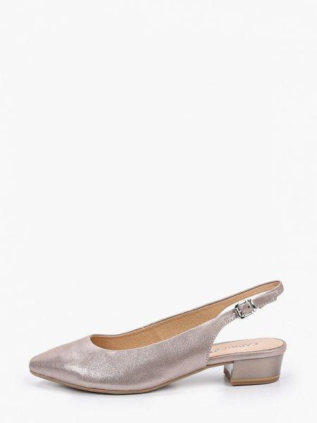 Кожаные туфли с открытой пяткой бежевый Caprice