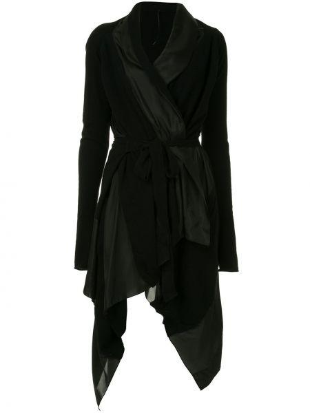 Платье с поясом с запахом черное Masnada