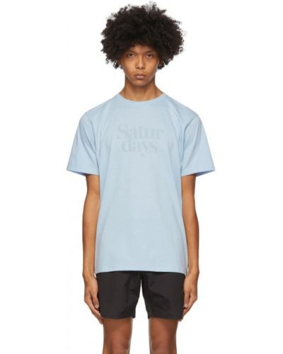 Krótki niebieski sukienka koszula koszula z logo Saturdays Nyc