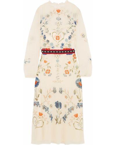 Шелковое бежевое платье миди с длинными рукавами Redvalentino