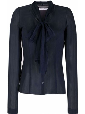 Niebieska bluzka z długimi rękawami Christian Dior