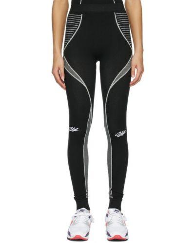 Nylon czarny legginsy z mankietami rozciągać Off-white