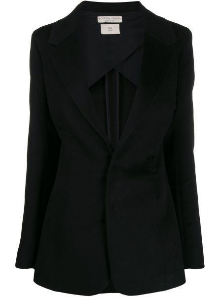 Шелковый черный пиджак с карманами Bottega Veneta