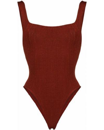 Пляжный коричневый купальник с шортами с вырезом Hunza G
