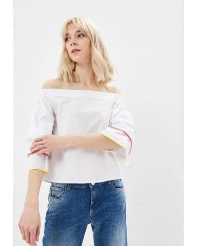 Блузка с открытыми плечами белая итальянский Trussardi Jeans