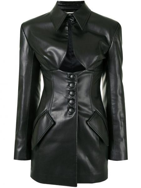 Черный кожаный удлиненный пиджак с воротником Aleksandre Akhalkatsishvili