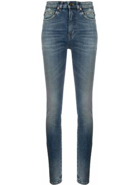 Джинсы-скинни с заклепками с карманами Saint Laurent