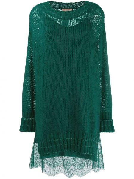 С рукавами зеленое трикотажное платье макси Twin-set