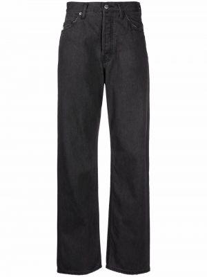 Czarne jeansy z wysokim stanem z paskiem Ambush