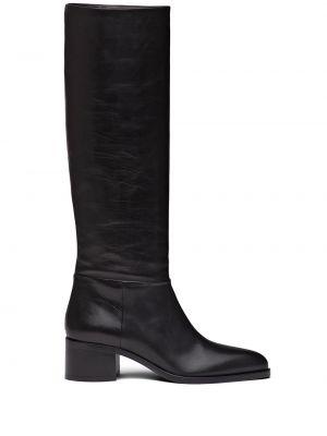 Czarny buty na pięcie z ostrym nosem z prawdziwej skóry na pięcie Prada