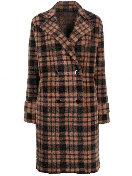 Klasyczny brązowy płaszcz z długimi rękawami Pinko