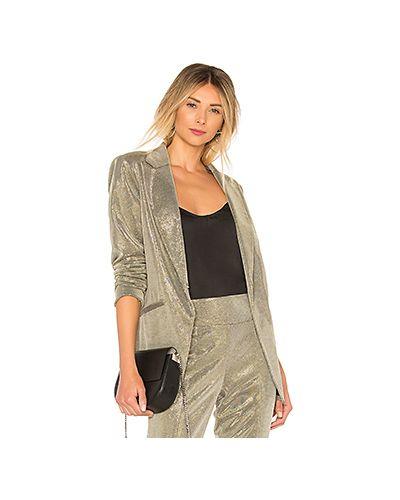 Серебряный пиджак с карманами металлический Michelle Mason