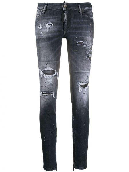 Серые зауженные джинсы-скинни с карманами с заплатками Dsquared2