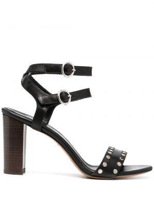 Открытые черные босоножки на каблуке с пряжкой Tila March
