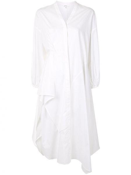 Bawełna asymetryczny długo sukienka z dekoltem w szpic z draperią Enfold