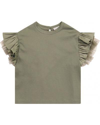 Zielony t-shirt bawełniany z falbanami Brunello Cucinelli Kids