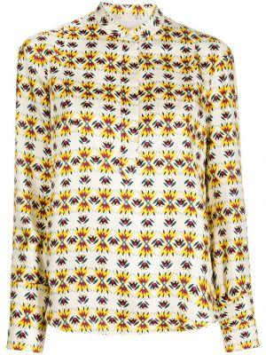 Шелковая с рукавами рубашка с воротником-стойка La Doublej