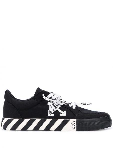 Хлопковые черные кроссовки с нашивками на шнуровке Off-white
