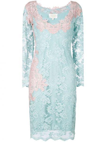 Синее ажурное платье из вискозы Olvi´s