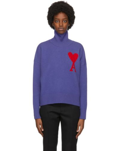 С рукавами шерстяная фиолетовая водолазка с воротником Ami Alexandre Mattiussi