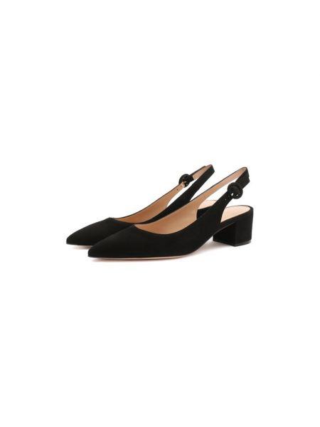Кожаные черные кожаные туфли с открытой пяткой на каблуке Gianvito Rossi