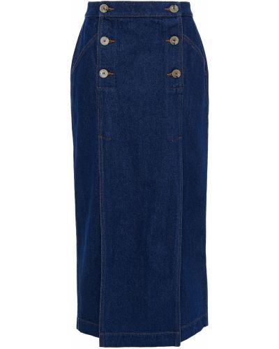 Хлопковая синяя юбка миди с заплатками Nanushka