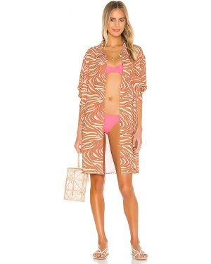 Różowa sukienka na plażę zapinane na guziki Ellejay