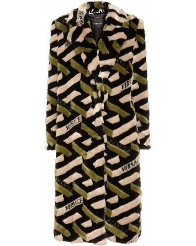 Длинное дафлкот из искусственного меха с карманами Versace