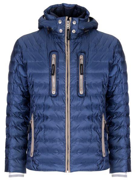 Синяя куртка с капюшоном на молнии с манжетами с карманами Bogner