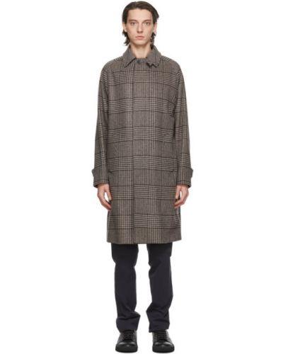 Wełniany długo płaszcz z kieszeniami z kołnierzem zapinane na guziki Herno