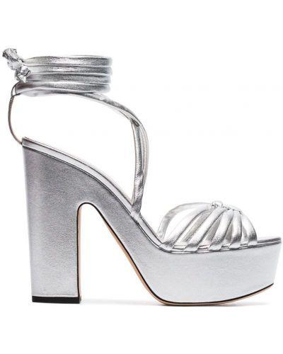 Серебряные сандалии на каблуке Alchimia Di Ballin