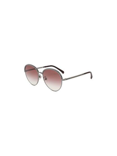 Розовые солнцезащитные очки круглые металлические Chanel