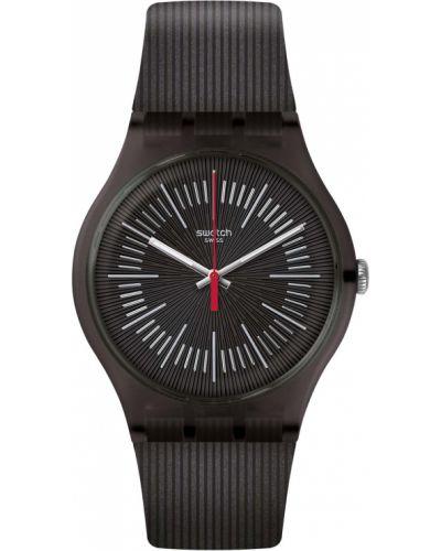 Черные силиконовые часы водонепроницаемые прозрачные Swatch