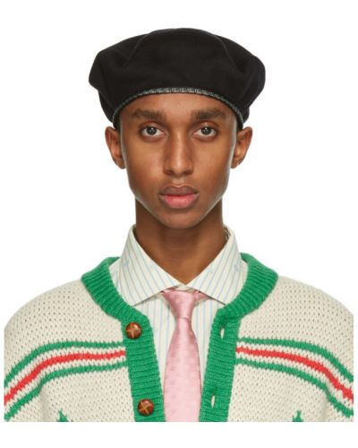 Wełniany czarny beret Gucci