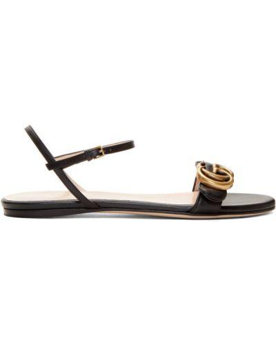 Skórzany czarny sandały z klamrą okrągły Gucci
