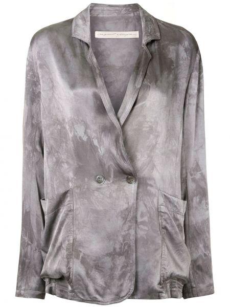 Серебряный пиджак с заплатками с лацканами с карманами Raquel Allegra