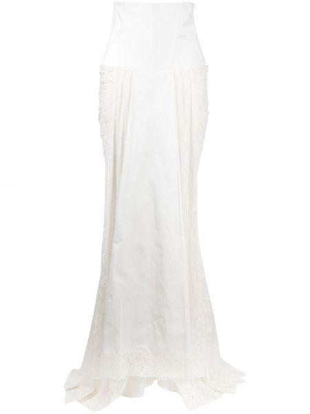 Белая ажурная с завышенной талией юбка макси на шнуровке Antonio Marras